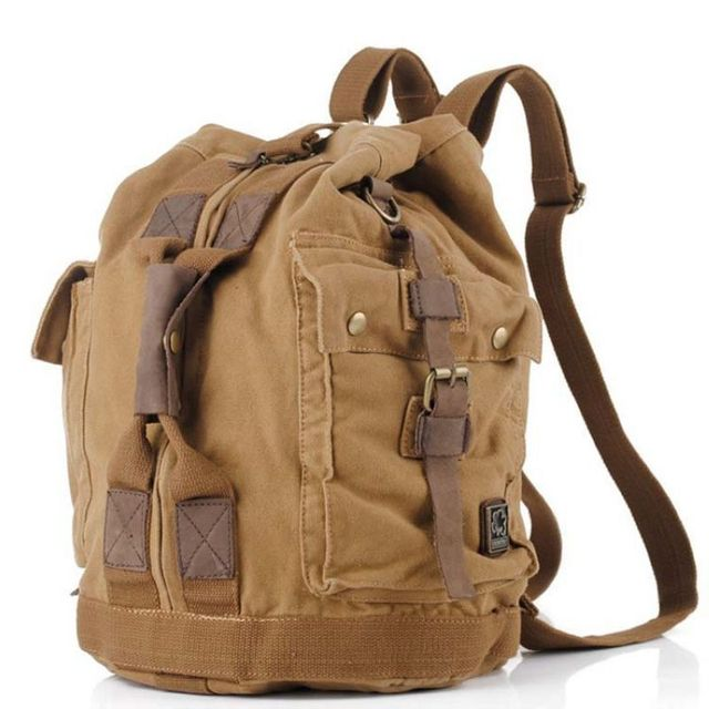 S.C.COTTON Men s Women s Vintage Canvas Leather Cotton Bag Rucksack  Mountaineering Book Backpack School Casual Backpacks 80e66ba8c0455