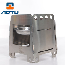 Aotu  Middle size 350g Wood Stove alcohol stove Wood Burning stove camping Stainless Steel Folding Pocket Stoves 338