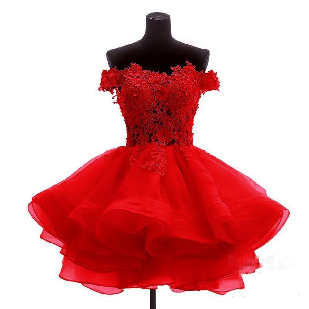 Real Photos Rose Mini Short Cocktail Dresses 2019 A Line Elegant Off Shoulder Lace Appliqued Ruffles Party Gowns Custom vestidos