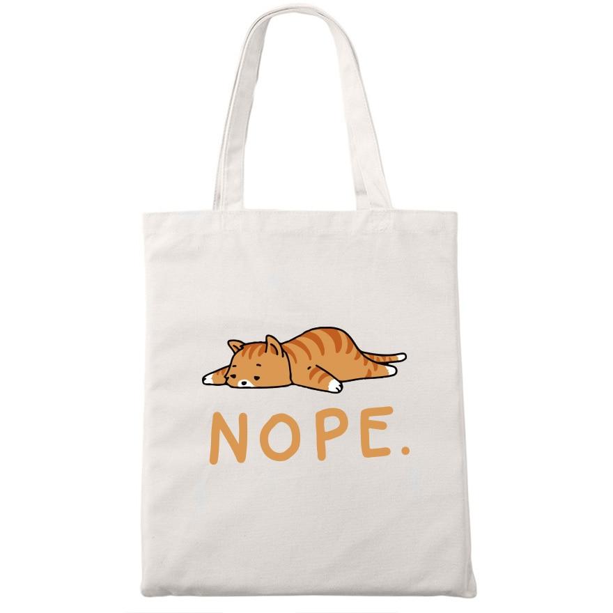 Nope Cat Shopping Tote Bag Cute Animal Print Fashionable Original Design White Bags Zipper Closure Unisex