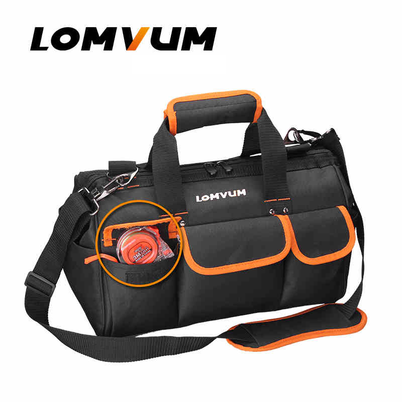 LOMVUM Multifunction Durable Tool Bag Hardware Mechanics Canvas Waterproof Electrician Shoulder Belt Toolkit Utility Pocket canvas kit multifunction waist bag electrician repair water resistant pockets tool bag