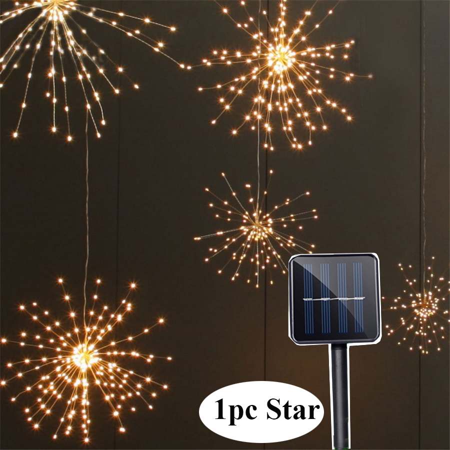 BEIAIDI 200 Leds Solar Starburst String Light DIY Copper Fairy String Garland 8 Mode Firework Christmas Explosion Wedding Light 200 leds diy hanging starburst string light solar powered firework copper fairy garland christmas wedding twinkle lights ca79