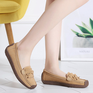 Image 4 - Women Suede Leather Loafers Women\x27s Slip\x2don Shoes High Quality Comfortable Shoes Woman Flats Sneakers Woman Schoenen Vrouw