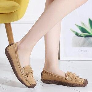 Image 4 - 여성 스웨이드 가죽로 퍼스 여성 \ x27s 슬립 \ x2don 신발 고품질 편안한 신발 여성 플랫 스니커즈 여성 schoenen vrouw