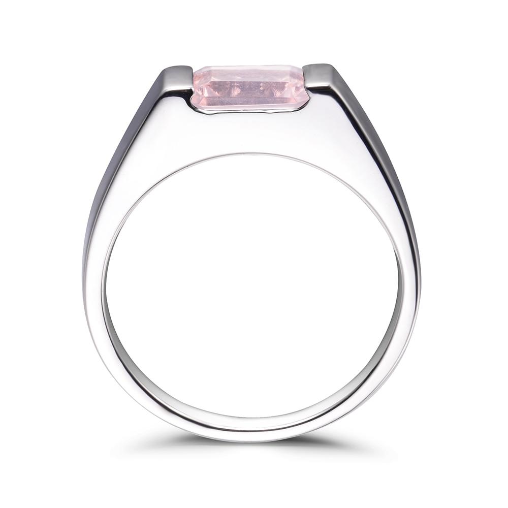 LeiGe Jewelry Natural Pink Quartz Rings Wedding Rings Emerald Cut Pink Gemstone Rings Genuine 925 Sterling Silver Fine Jewelry