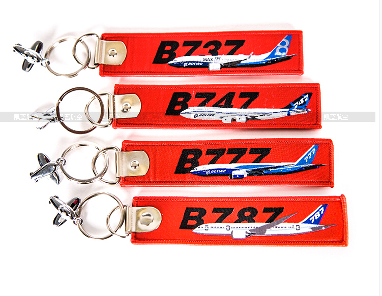 Boeing B737 / B747 / B777 / B787 Travel Accessories Luggage Tag Red Embroider Metal Plane Gift Bag Tag for Flight Crew Pilot