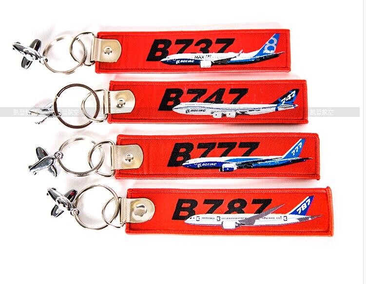 Boeing B737 B747 B777 B787 Travel Accessories Luggage Tag Red Embroider Metal Plane Gift Bag Tag