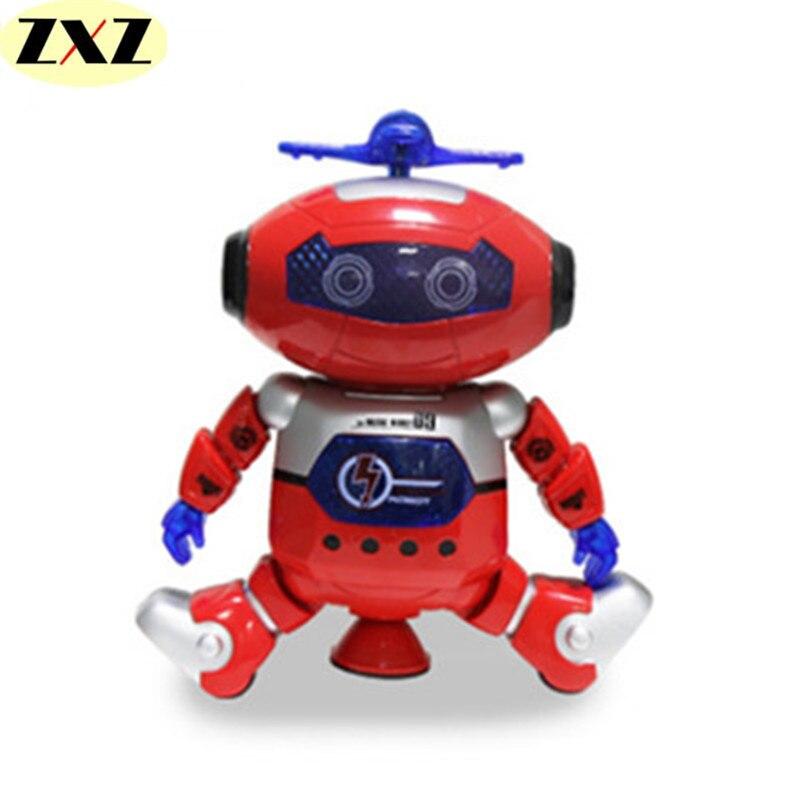 Bailando robot humanoide juguetes del espacio y la luz niños electronic pet robo