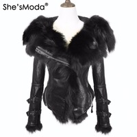 She'sModa Natural Winter Real Fox Fur Fleece Slim Women's Zipper Hoodie Motorcycle Coat Jacket Plus Size