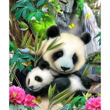 5D DIY Diamond Lukisan Hewan Panda Full Round Diamond Bordir Cross Stitch Kristal Berlian Lukisan Dinding Hadiah(China)