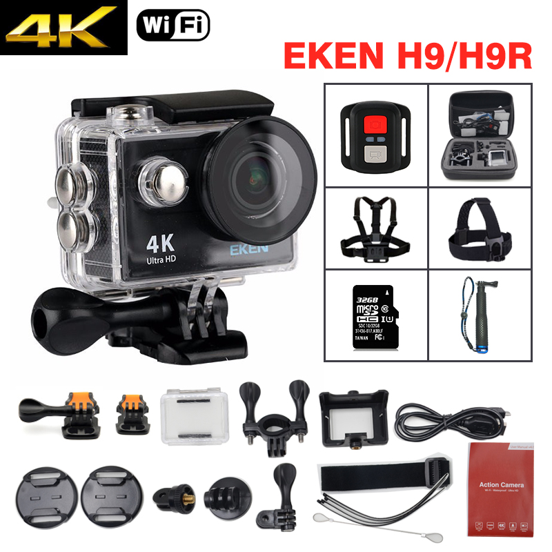 Galleria fotografica EKEN H9 / H9R Action camera Ultra HD 4K / 25fps WiFi 2.0LCD 170D underwater waterproof Helmet Cam mini camera Sport DV