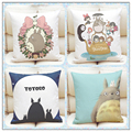 NEW Cotton Linen Square Cushions Decorative Anime My Neighbor Totoro Pattern Pillow Bed big Cushion 45X45cm without filling &