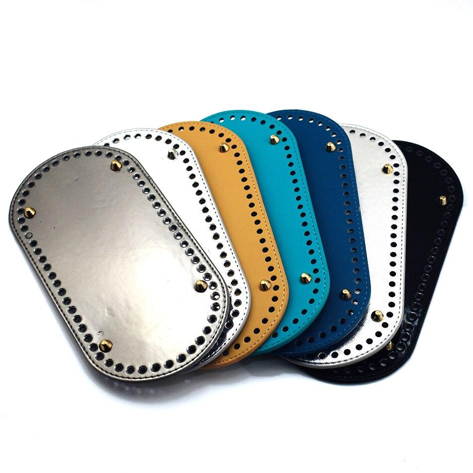 25*12cm Oval Long Bottom For Crochet Knitting Bag PU Leather 60 Holes Women's Bag Handmade DIY Craft Accessories KZBT008 KZBT010