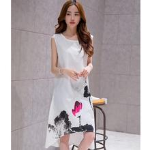 2017 New Spring Summer White Black Ink Print Women Long Dress Retro Short Sleeve Cotton Linen