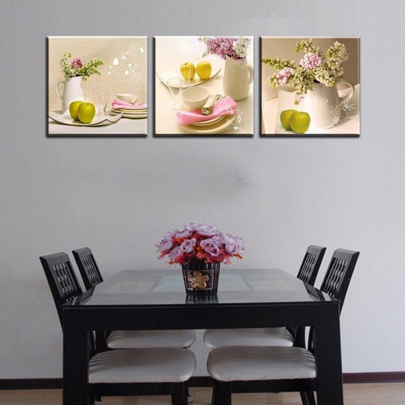 3 panels kitchen fruit decoration flowers canvas abstract for Kitchen decoration with flowers