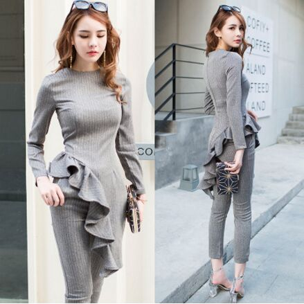 2 Pieces Set 2017 Autumn Casual Office Gray Suits For Women Long Sleeve Ruffles Tops and