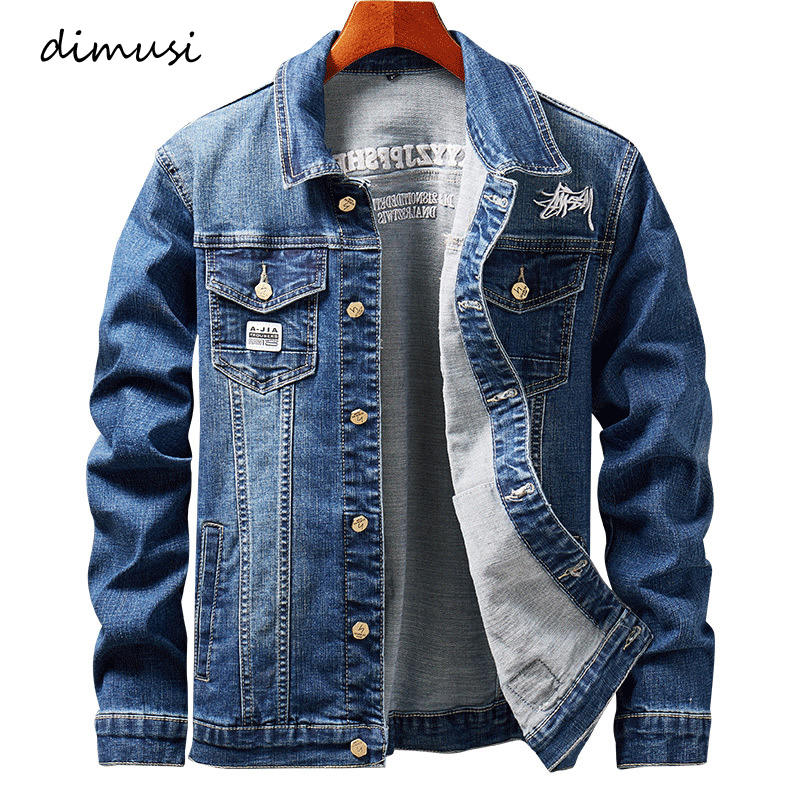 DIMUSI Mens Denim Jacket Spring Fashion Men Trendy Ripped Denim Jacket Mens Outwear Jeans Jacket Male Cowboy Coats Clothing 4XL