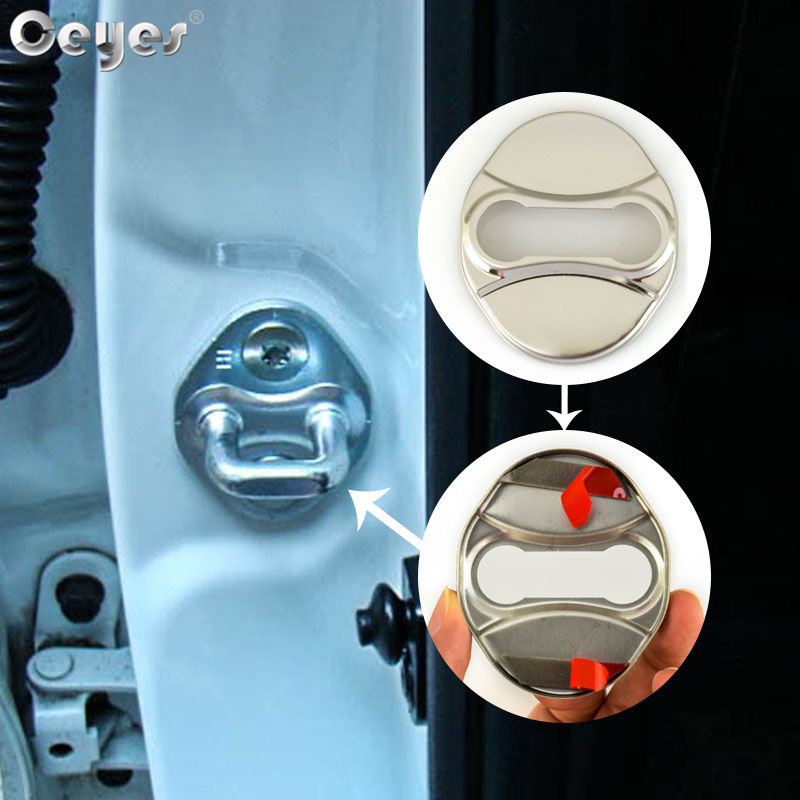 Ceyes Car Styling Color Door Lock Cover Sticker For Hyundai Grand I10 2017 Veloster Rohens Veracruz Equus Azera Auto Accessories