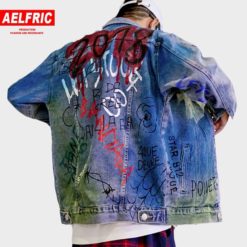 AELFRIC jeans décontractés vestes homme Graffiti 3d impression Harajuku conception veste de Baseball Outwear mode Streetwear pardessus RK36