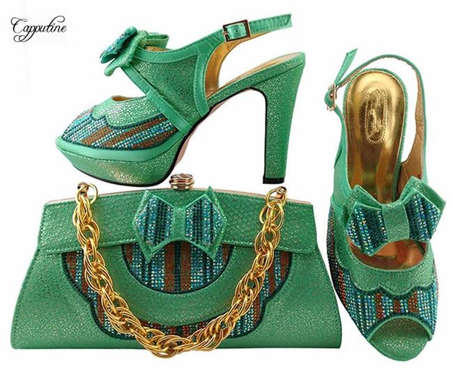 Последние зеленого цвета сандалии обувь и сумки набор элегантная дама туфли-лодочки на высоком каблуке с сумкой mm1038, высота каблука 11 см
