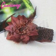 2017 Marrom Cocar Faixa de Cabelo Novos Acessórios Para o Cabelo Flor Cabeça Headwear Meninas De Dança Hot Moda Faixas Elásticas Do Cabelo Laços de Fita