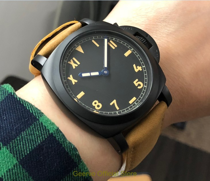 47mm GEERVO black dial Asian 6497 17 jewels Mechanical Hand Wind movement men's watch PVD case Mechanical watches gr259 g8|Mechanical Watches| |  - title=