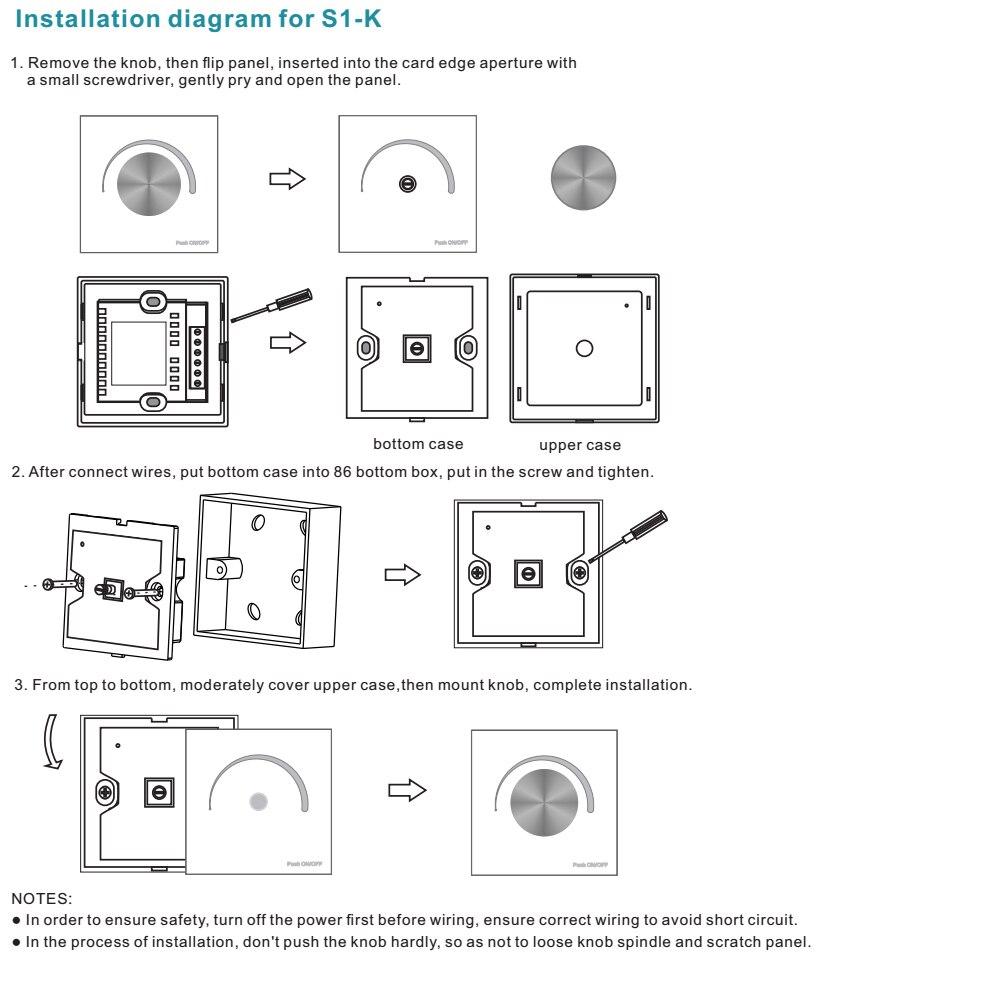 Dimmer Led 220v Ac 230v 110v Wireless Rf Rotary Glass Panel Triac 3 Wire Diagram At Remote Control