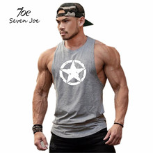 Zeven Joe Nieuwe mode katoenen mouwloze shirts tank top mannen Fitness shirt heren singlet Bodybuilding workout gym vest fitness mannen(China)