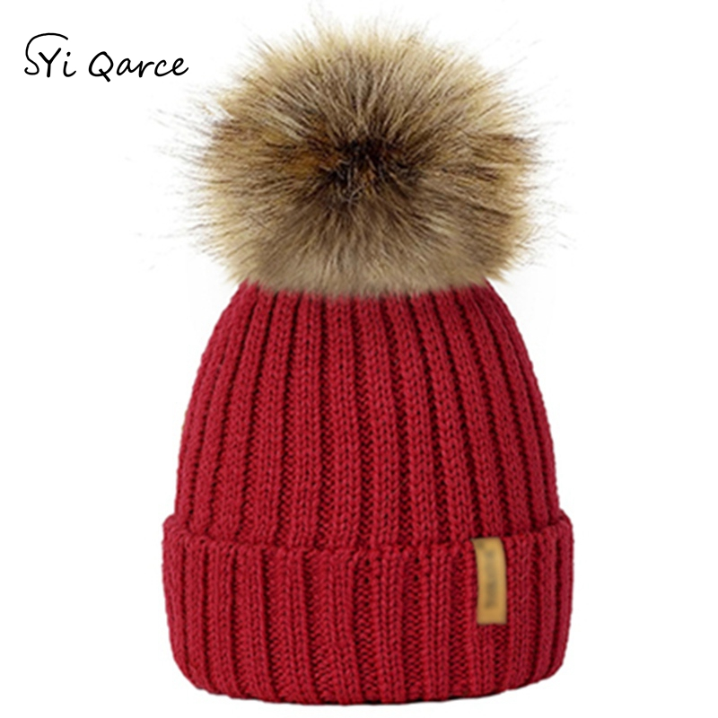 SYi Qarce Children Winter Cotton Knitted Pom Pom Hats with Hairball   Skullies     Beanies   Bonnet Enfant Hat for Boy's Girl's NM281-89