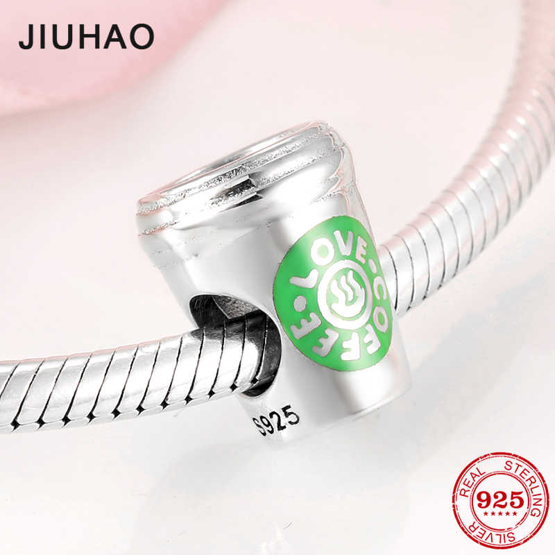 925 Sterling Silver Fashion Metropolitan style Coffee Cup shape beads DIY charming bottle Fit Original bracelet Pandora Jewelry