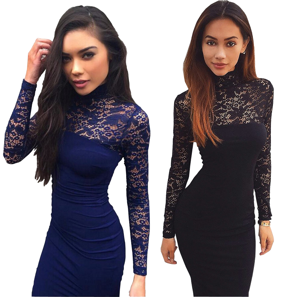 Nadafair Turtleneck Long Sleeve Lace Midi Sexy Club Bandage Bodycon Dress 2016 Autumn White Red Black Women Elegant Party Dress
