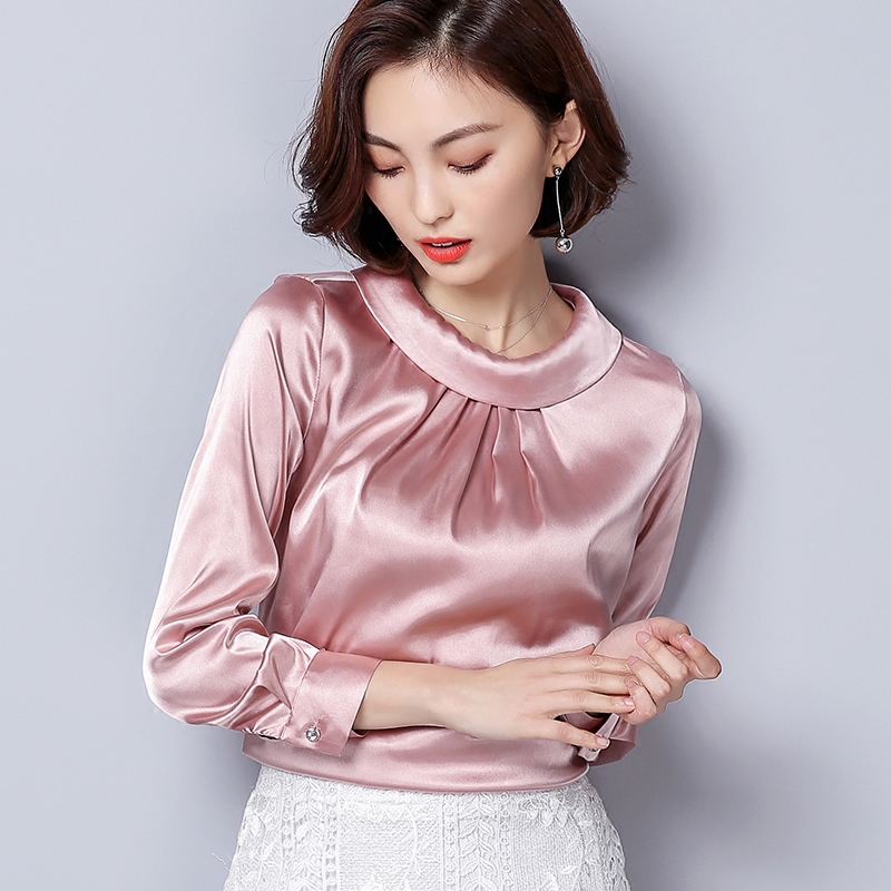 BIBOYAMALL Women Blouses Spring Casual Silk Blouse Loose Long Sleeve OL Work Wear Blusas Feminina Tops Shirts Plus Size XXXL Top