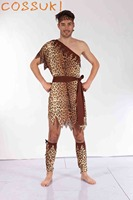 Halloween Adult Men Sexy Primitive Tribe Savage Leopard Print Cosplay Costume For Stage Performance Or Masquerade