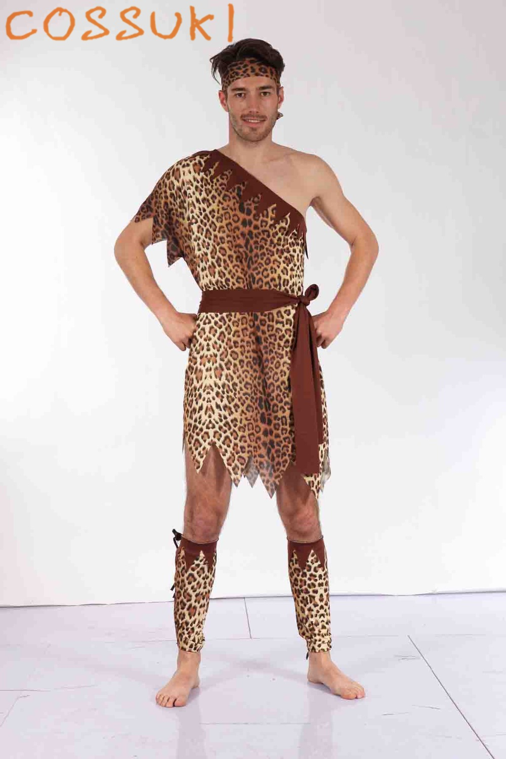 <font><b>Halloween</b></font> Adult <font><b>Men</b></font> <font><b>Sexy</b></font> Primitive Tribe Savage Leopard Print Cosplay <font><b>Costume</b></font> For Stage Performance Or Masquerade Party image