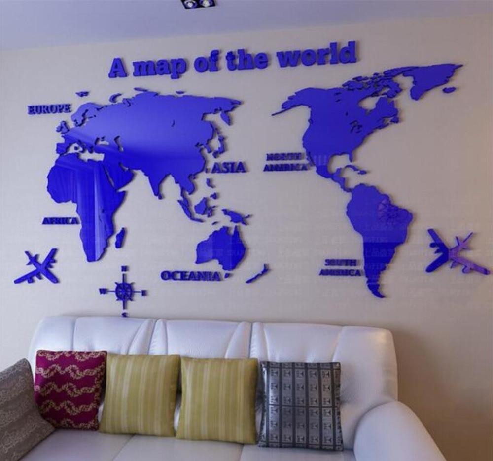 Mapa světa 3D křišťálové akrylové nástěnné nálepky kancelářské obývací pokoj pohovka pozadí Domácí výzdoba Umělecká nálepka Obtisky nejlepší dárek
