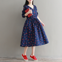 Fall Clothes 2017 New Autumn Loose Vestidos Women V Neck Long Sleeved Cherry Floral Print Cotton