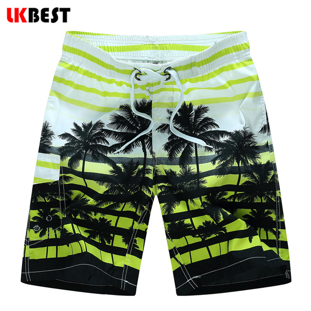 LKBEST Summer plus size M-5XL Men's Beach Shorts Elastic Waist Men Boardshorts Quick Dry Bermuda swimwear trucks N1525