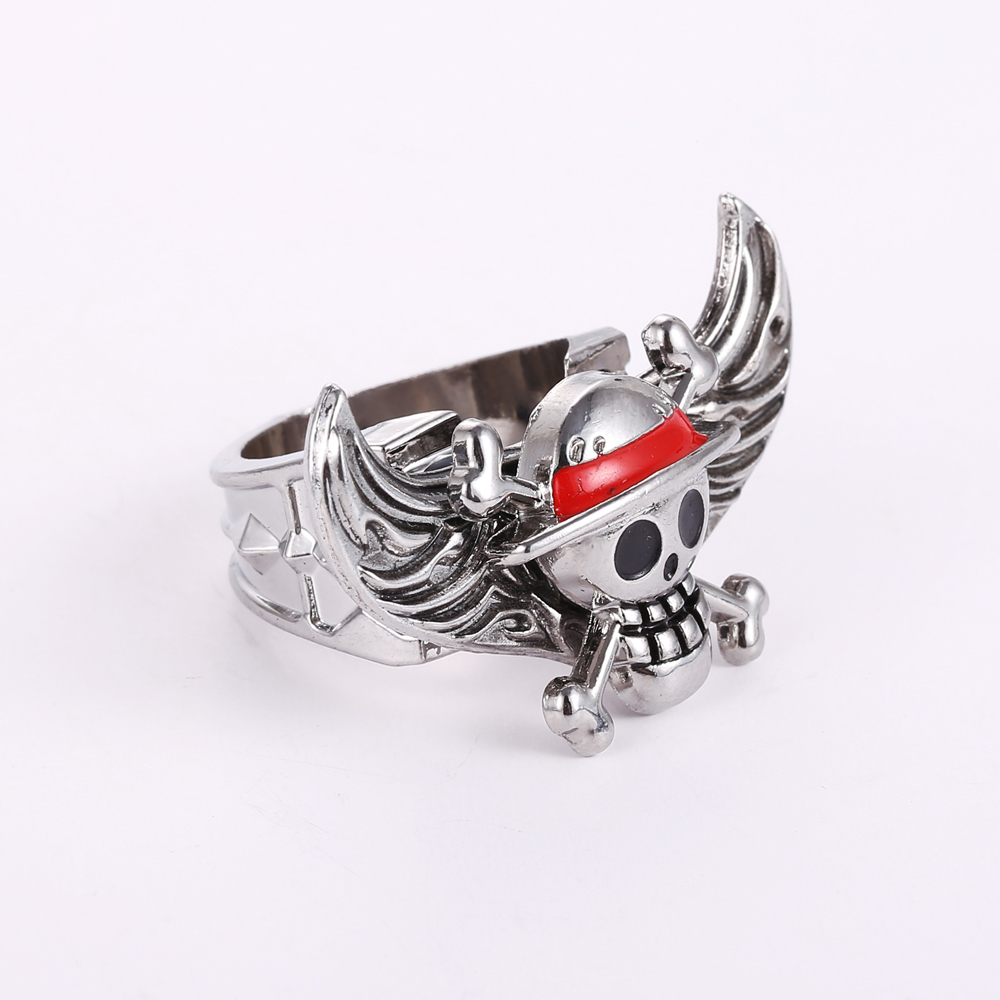 J store one piece series angel wings rings for women anime one piece skeleton zinc alloy ring 2017 fashion jewelry accessories in rings from jewelry