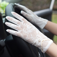 Woman Gloves Summer French Wind Lace Sunscreen Gloves Ultra-Thin Driving Non-Slip Anti-UV Touchscreen Breathable Elastic FS09 цена
