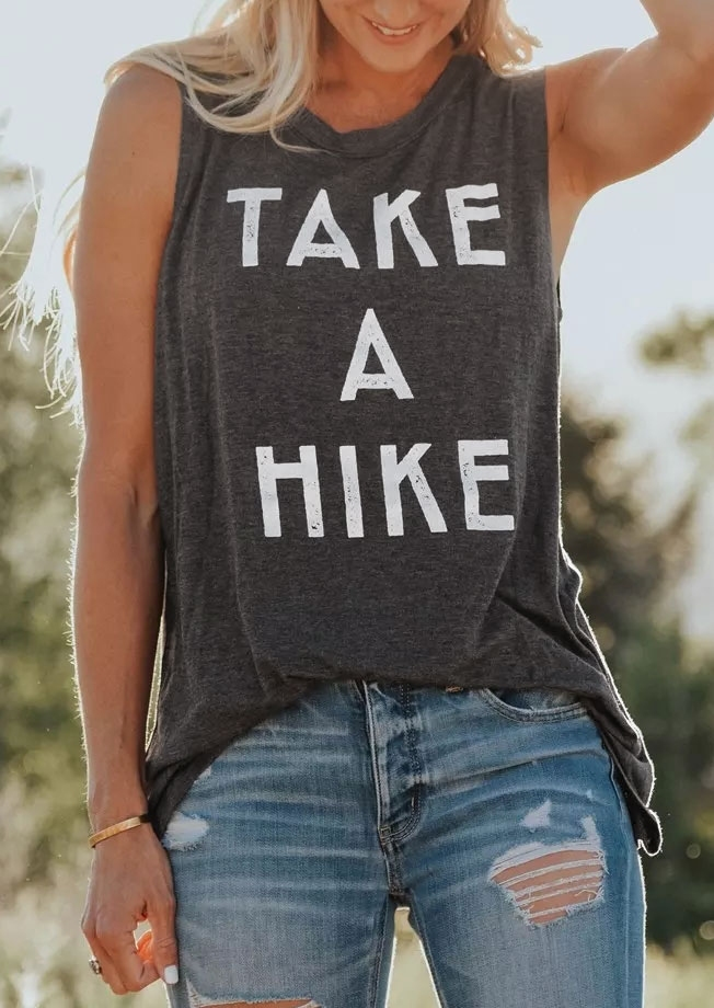 Tank Tops Women Summer Take A Hike Letter Print O-Neck Tank 2018 Female Sleeveless Casual t shirt Dark Grey Ladies Tops Tee