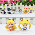 6 pçs/set Anime Cartoon Sailor Moon Mars Júpiter Venus Mercury Q Versão PVC Action Figure Modelo Brinquedos Bonecas