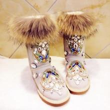 Aidocrystal Handmade Rhinestone Fur Warm Snow Boots Flat Ug Australia Boots Women Winter Shoes 2016 Fashion Free Shipping