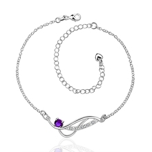 A036-C amethyst ruby sapphire crystal Delicate Rhinestone Cheap Silver Plated Anklet Bracelet Bulk Sale tobillera/peuga