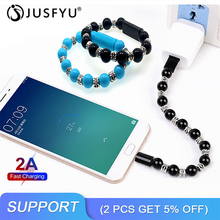 Bead Bracelet Micro USB Cable Sync Data Mobile Cellphone 2A Fast Charging Charger Cord For iPhone Android Type C USB Charge Wire цены