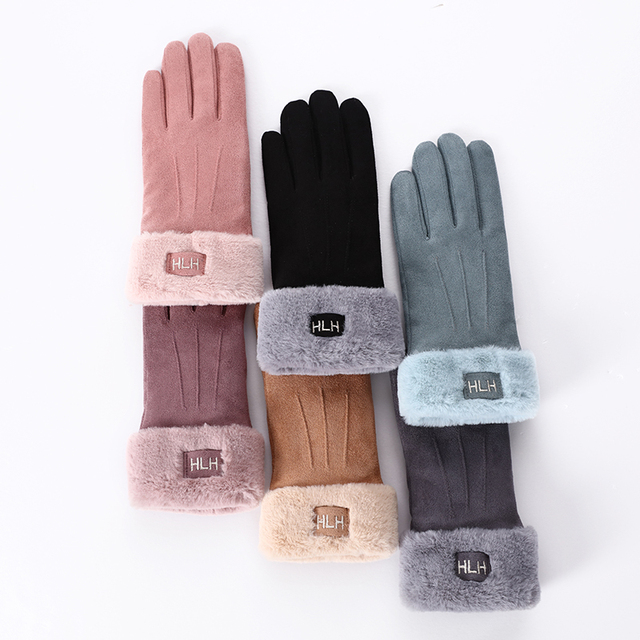 New Winter Female Lace Warm Cashmere Three Ribs Cute Bear Mittens Double thick Plush Wrist Women Touch Screen Driving Gloves 81B 2