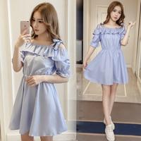 New Spring Summer Women dress Slash neck Striped Slim Long A Word In Season Dresses Dark Blue Sapphire 3229B