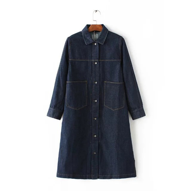 2016 autumn and winter new wave of European and American models washed denim thick coat washed long loose coat coat