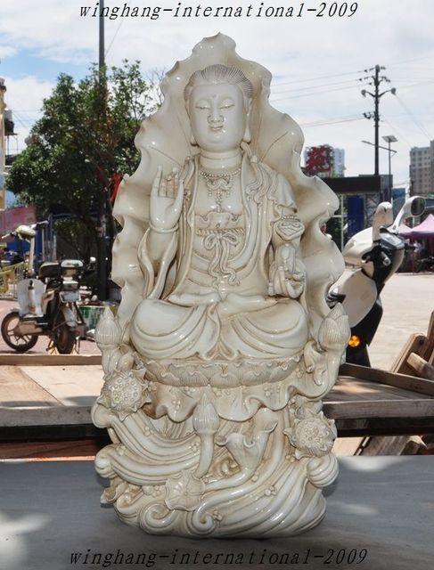 Christmas Old Tibet Buddhism Dehua White Porcelain Quan Yin Kwan Yin  Goddess Buddha Statue Halloween