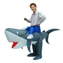 Купить с кэшбэком Women Men Adult Inflatable Shark Costume Halloween Purim Party Carnival Cosplay Air Blown Outfit Animal Mascot Fancy Dress Suit