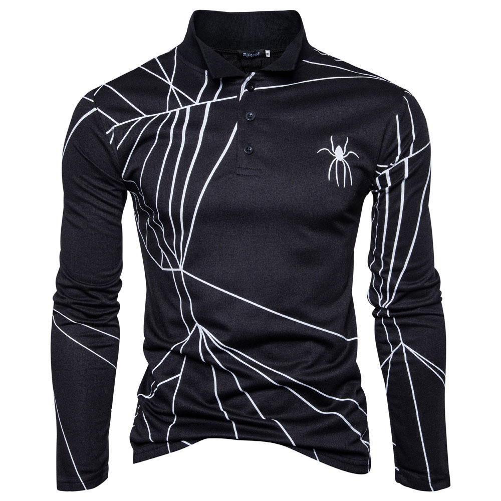 2018 spring plus size men polo shirt new men 39 s printing casual long sleeved polo shirt fashion. Black Bedroom Furniture Sets. Home Design Ideas